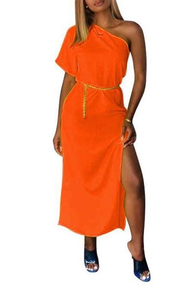 Women's Trendy Sexy One Shoulder Short Sleeve Plain Tide Waist Split Hem Midi A-line Dress