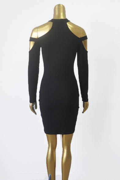 Womens Basic Solid Color Hollow Out Long Sleeve Night Club Mini Bodycon Dress