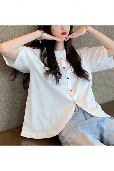 Womens Casual Loose Chic Colorful Button Front Round Neck Cotton Blouse Top