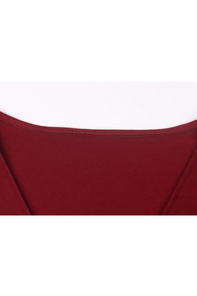 Womens Hot Fashion Simple Solid Color Cross V-Neck Long Sleeve Mini A-Line Dress