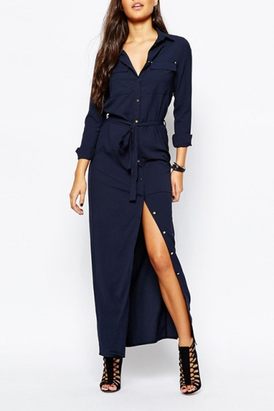 Womens New Fancy Basic Simple Plain Long Sleeve Button Down Tied Waist Dark Blue Maxi Shirt Dress