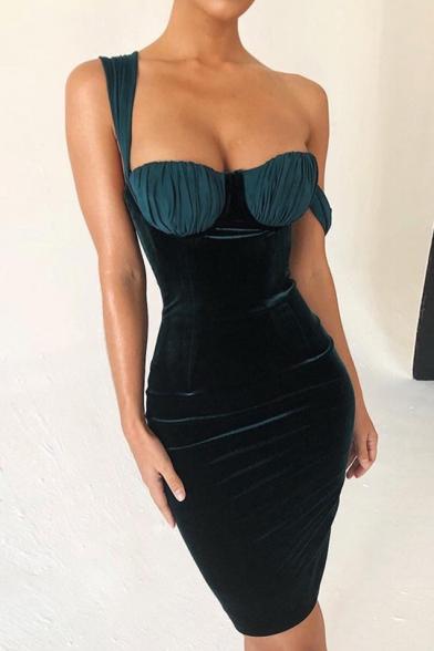 Womens Sexy Solid Color Sleeveless Dark Green Velvet Mini Bandage Corset Dress