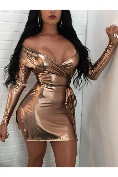 Womens Sexy V-Neck Long Sleeve Tied Waist Split Side Metallic Color Mini Short Night Club Dress