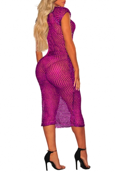 Womens Summer Fashion Hollow Out Knit Round Neck Midi Bodycon Beach Bikini Cover Up Dress