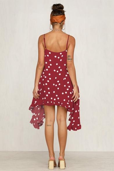 Womens Summer Holiday Trendy Vintage Polka Dot Printed Beach Asymmetrical Strap Dress