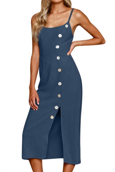 Womens Summer Simple Plain Chic Shell Button Down Sleeveless Split Side Midi Sheath Cami Dress