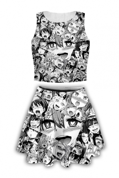 Ahegao Comic Girl Pattern Cropped Tank Top with Mini A-Line Skirt Black Two-Piece Set, LM537538