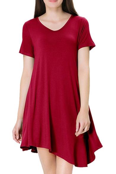Basic Simple Plain V-Neck Short Sleeve Mini Asymmetrical T-Shirt Dress