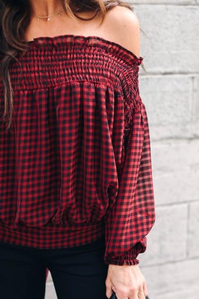 Burgundy Plaid Printed Ruffled Off the Shoulder Long Sleeve Blouse