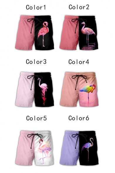 Cool Flamingo Pattern Drawstring Waist Sport Loose Casual Athletic Shorts for Guys