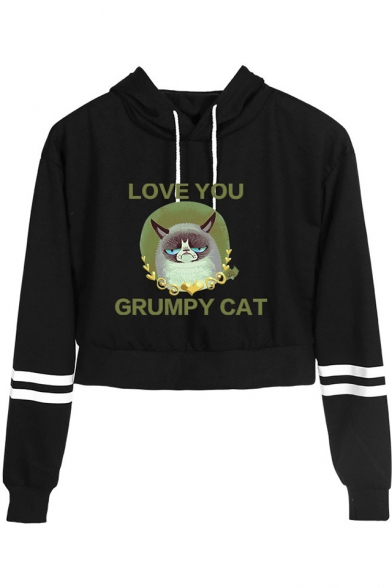 Cute Cartoon Letter LOVE YOU GRUMPY CAT Striped Long Sleeve Cropped Hoodie