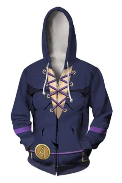 Fashion 3D Pattern Long Sleeve Zip Closure Cosplay Costume Blue Hoodie