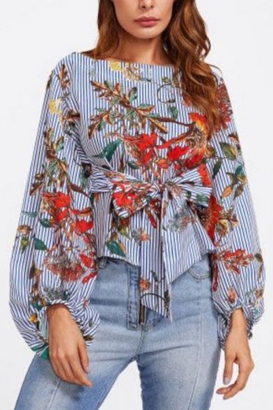 Fashion Blue Striped Floral Printed Lantern Long Sleeve Tied Waist Blouse Top