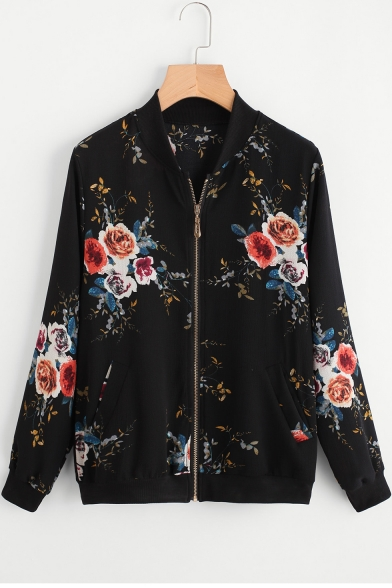 Fashion Stand Collar Long Sleeve Floral Pattern Zipper Front Casual Jacket