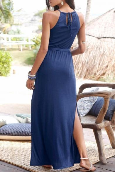 Fashion Women's Sleeveless Halter Neck Tied Waist Plain Split Side Maxi Shift Dress