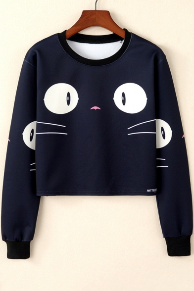 Girls Cute Cartoon Big Eyes Cat Printed Round Neck Long Sleeve Cropped Black Sweatshirt