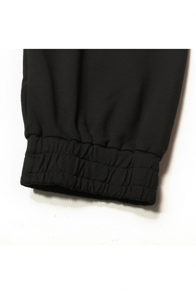 Guys Fashion Tape Patched Drawstring Waist Elastic-Cuff Black Sport Carrot Pants