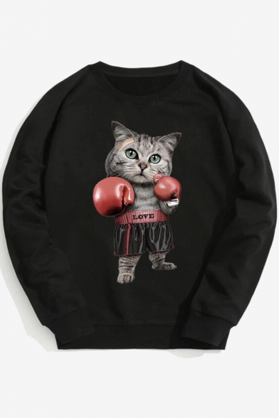 Hip Hop Style LOVE Letter Cartoon Boxing Cat Printed Round Neck Long Sleeve Sweatshirt