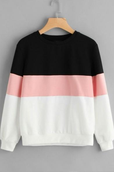 Hot Fashion Colorblock Round Neck Long Sleeve Sweatshirt
