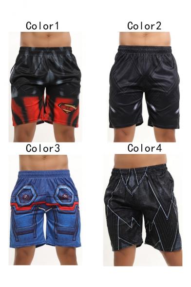 Mens Fashion Comic Cosplay Costume Elastic Waist Quick Drying Compress Basketball Running Shorts