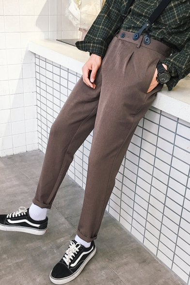Mens Trendy Simple Plain Rolled Cuff Tapered Trousers Suspender Pants