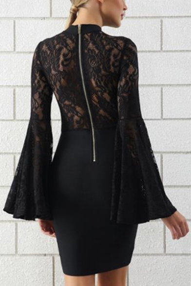 New Stylish Black Lace Panel Bell Long Sleeve Mini Bodycon Dress