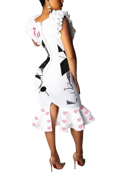 New Stylish Letter Girl Face Sketch Heart Pattern White Round Neck Zipper Split Back Midi Ruffle Bodycon Dress