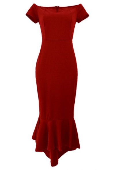New Stylish Off The Shoulder Plain Fishtail Hem Maxi Bodycon Dress For Women