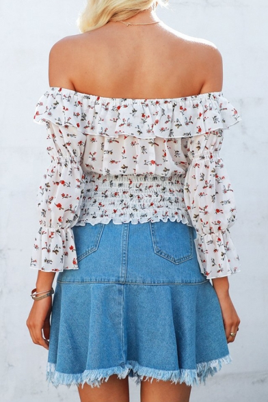 Stylish Floral Printed Tied Off the Shoulder Chiffon White Cropped Blouse