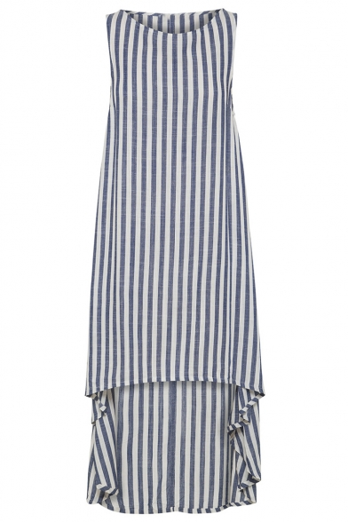 Summer Fashion Vertical Striped Printed Round Neck Sleeveless High Low Hem Swing Asymmetrical Dress