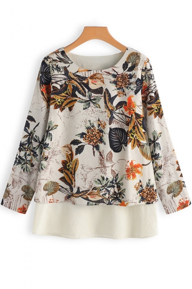 Summer Popular Tropical Leaf Print Round Neck Long Sleeve Casual Loose Chiffon Blouse Top