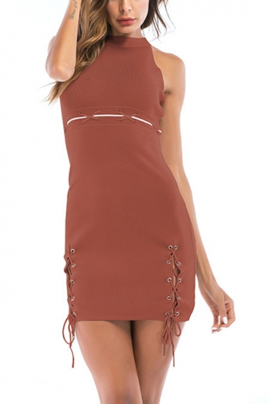 Trendy Halterneck Sleeveless Lace-Up Side Plain Mini Bodycon Dress