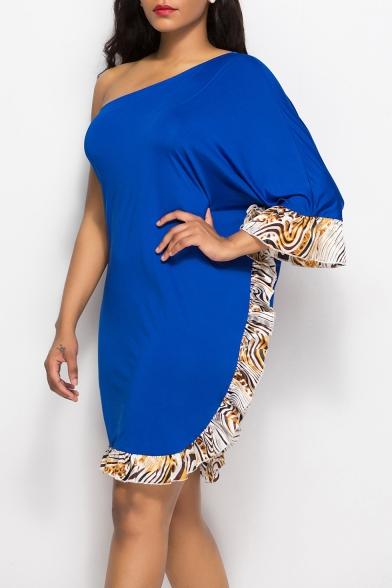 Trendy Oblique One Shoulder Ruffled Hem Knee Length Sheath Dress for Women