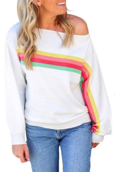 Trendy Rainbow Stripe Printed One Shoulder Long Sleeve White Casual Sweatshirt LM537858 фото