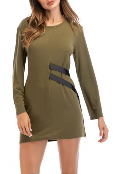 Unique Black Ribbon Embellished Simple Plain Long Sleeve Round Neck Army Green Mini A-Line Dress