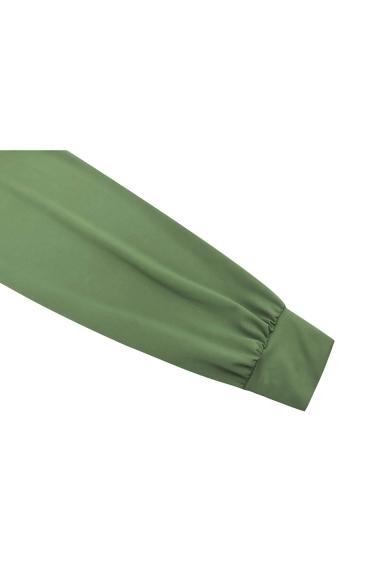 Unique Fashion Round Neck Long Sleeve Simple Plain Ruffled Sash Detail Mini Bodycon Dress