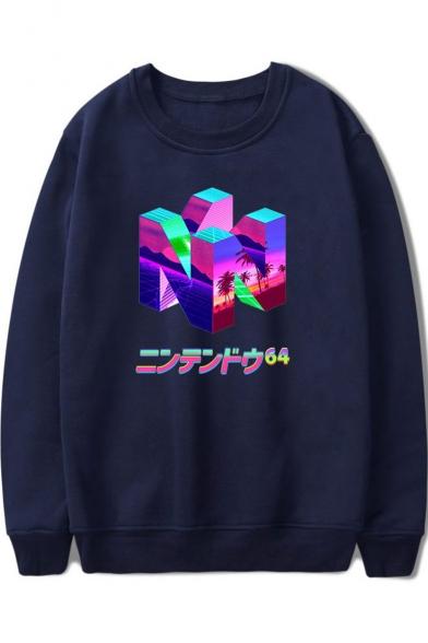 Vaporwave Cool Unique Letter Pattern Round Neck Long Sleeve Loose Fit Sweatshirt