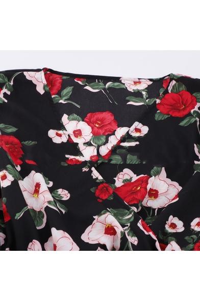 Women's Fashion Floral Print Long Sleeve V-Neck Ruffle Hem Mini A-Line Black Dress