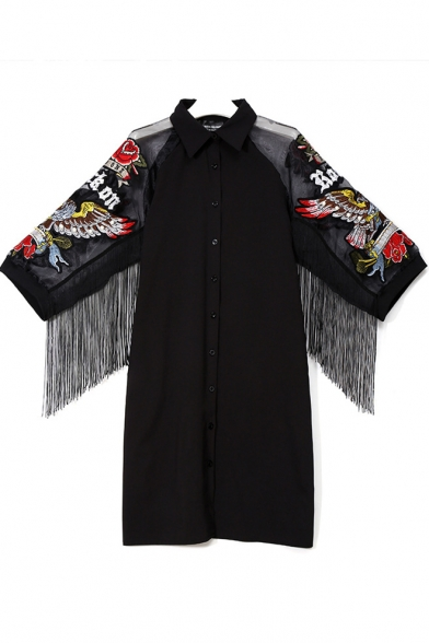 Women's Fashion Lapel Collar Half Sleeve Embroidered Floral Print Button-Front Tessel Hem Midi Black Shirt Dress