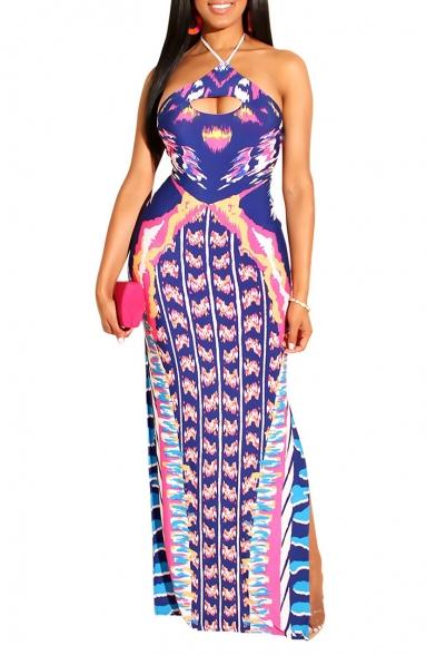 Women's Hot Fashion Halter Neck Sleeveless Printed Split Side Bodycon Maxi Nightclub Purple Dress