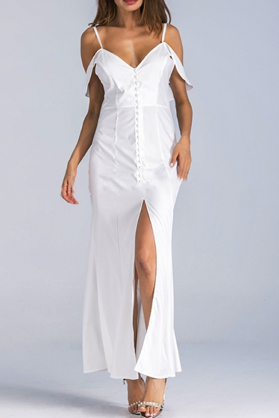 Women's Sexy Spaghetti Straps Short Sleeve Backless Split Hem Maxi Cami White Dress
