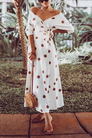 Women's Stylish Off The Shoulder Half Sleeve Polka Dot Printed Bow-Tied Waist Maxi White A-Line Dress