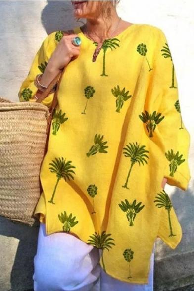 Women's V Neck Long Sleeve Allover Tree Printed Split Side Loose Fit Blouse Top