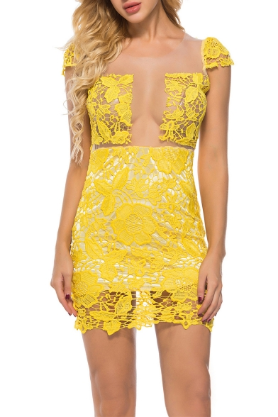 Womens Chic Sexy Sheer White Mesh Panel Round Neck Cap Sleeve Open Back Mini Bodycon Yellow Lace Dress