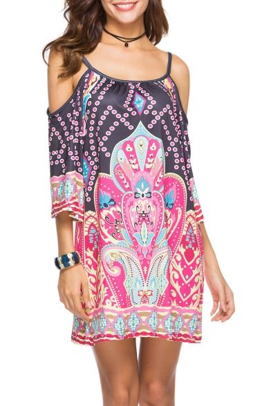Womens Summer Holiday Fashion Tribal Printed Cold Shoulder Three-Quarter Sleeve Mini Strap Dress Beach Dress