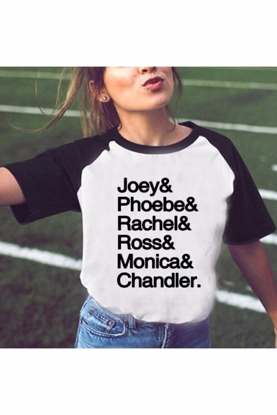 Womens Summer Popular Letter JOEY PHOEBE Pattern Raglan Short Sleeve White T-Shirt