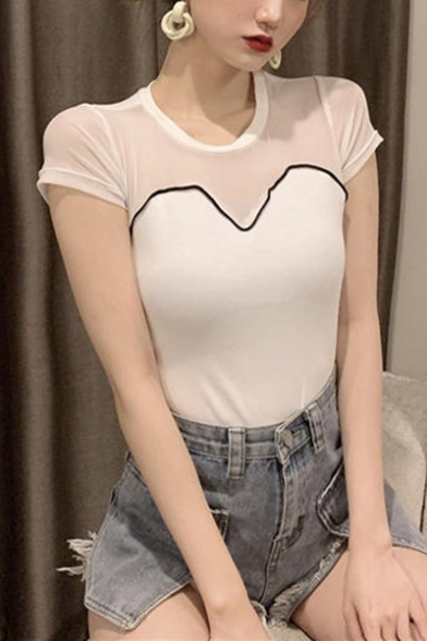 Chic Sheer Mesh Patched Fake Two-Piece Summer Short Sleeve Slim T-Shirt