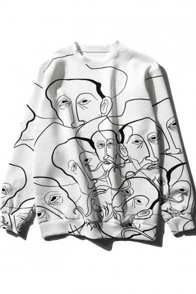 Cool Abstract Human Figure Face Printed Basic Crewneck Long Sleeve White Sweatshirt