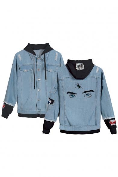 Cool Eyes Printed Long Sleeve Hooded Fake Two-Piece Ripped Blue Denim Jacket