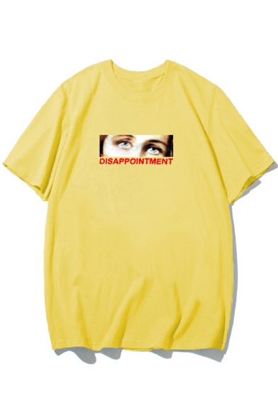 Cool Street Fashion Figure Letter DISAPPOINTMENT Print Short Sleeve Casual Tee